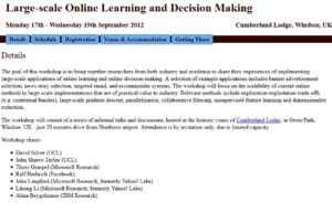 Large-scale Online Learning and Decision Making Workshop