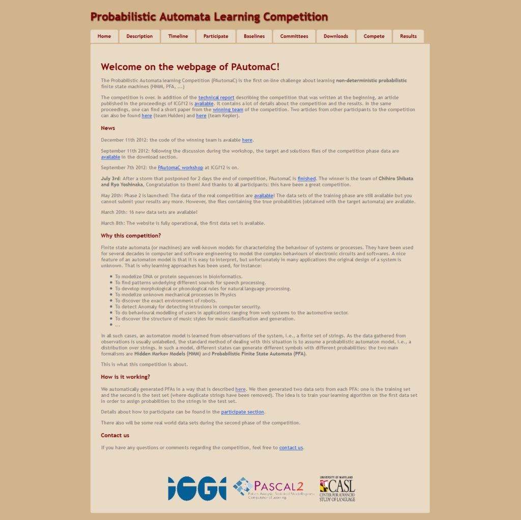 Probabilistic Automata Learning Competition