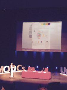 Javier Hernández-Ros showing TraMOOC on his slides