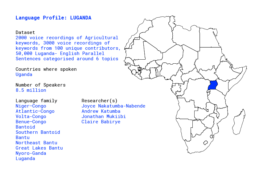 Building a database for Luganda language in Africa